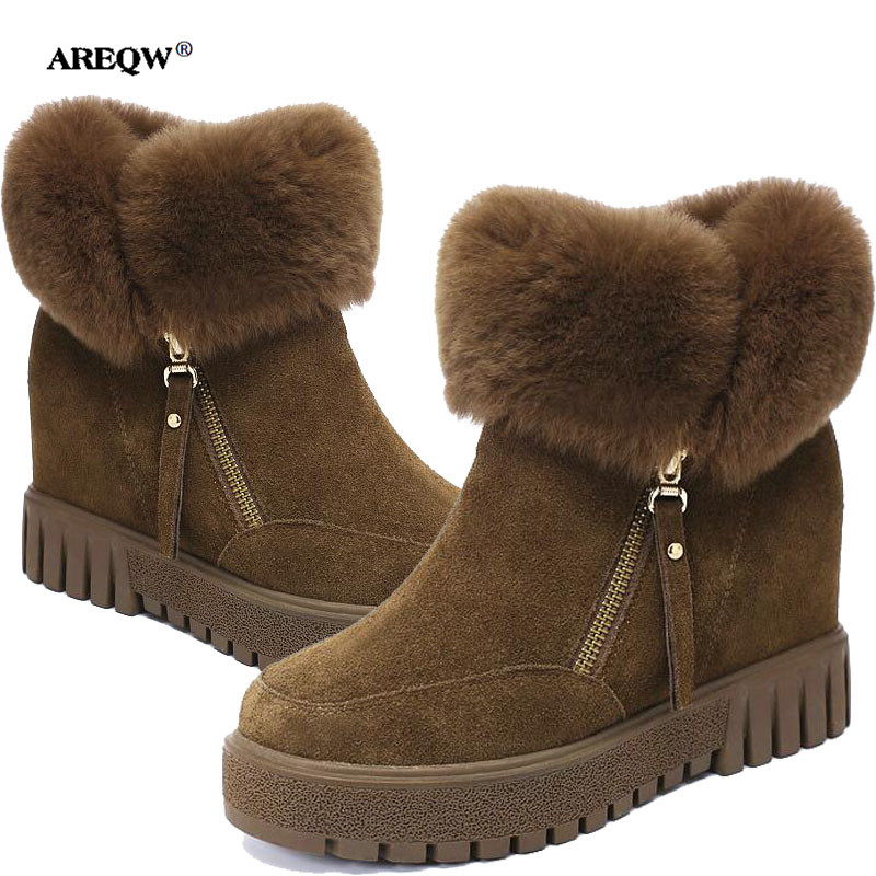 AREEQW Winter snow boots women height increasing black Martin boots warm Suede bare boots woman spring plus casuals short boots ...