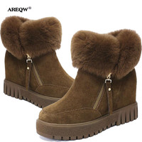 AREEQW Winter Snow Boots Women Height Increasing Black Martin Boots Warm Suede Bare Boots Woman Spring