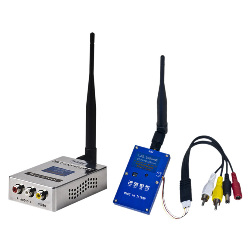 1.3G 2W 2000mW PAL/NTSC Wireless AV VTX FPV Transmitter Receiver Combo for RC Drone free shipping fpv skyzone 5 8g 32ch 2000mw 2w av transmitter n2000 with digital display osd for receiver qav250 racing drone