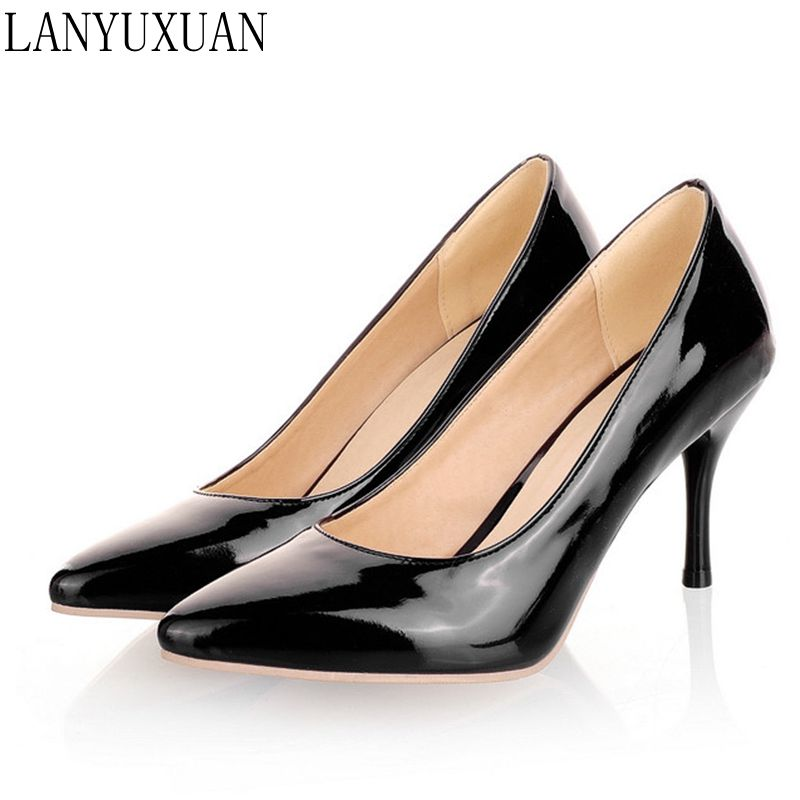 Plus Big Size 34-47 Shoes Woman 2017 New Arrival Wedding Ladies High Heel Fashion Sweet Dress Pointed Toe Women Pumps A-3 2017 new fashion spring ladies pointed toe shoes woman flats crystal diamond silver wedding shoes for bridal plus size hot sale