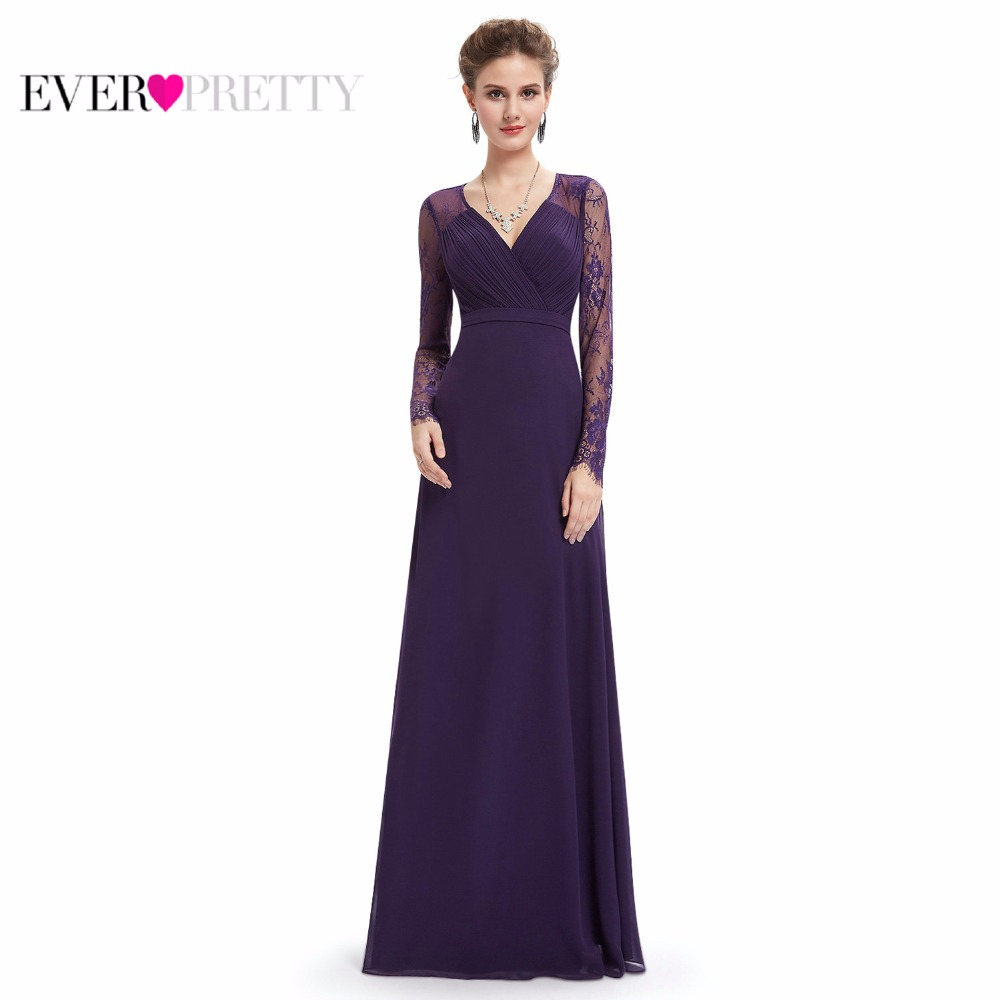 Women Elegant   Evening     Dresses   2019 Ever Pretty EP08692 A-Line V-neck Lace Long Sleeves Robe De Soiree Formal Party   Dresses   2019