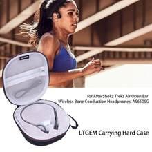 Ltgem eva preto carregando caso duro para aftershokz trekz ar aberto sem fio da orelha condução óssea fones de ouvido as650sg