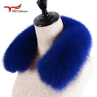 Women desigual Winter Real 100% Fox Fur Collars for Coat Jacket Solid Black Color Scarv Female Fashion brand Warm Genuine shawl