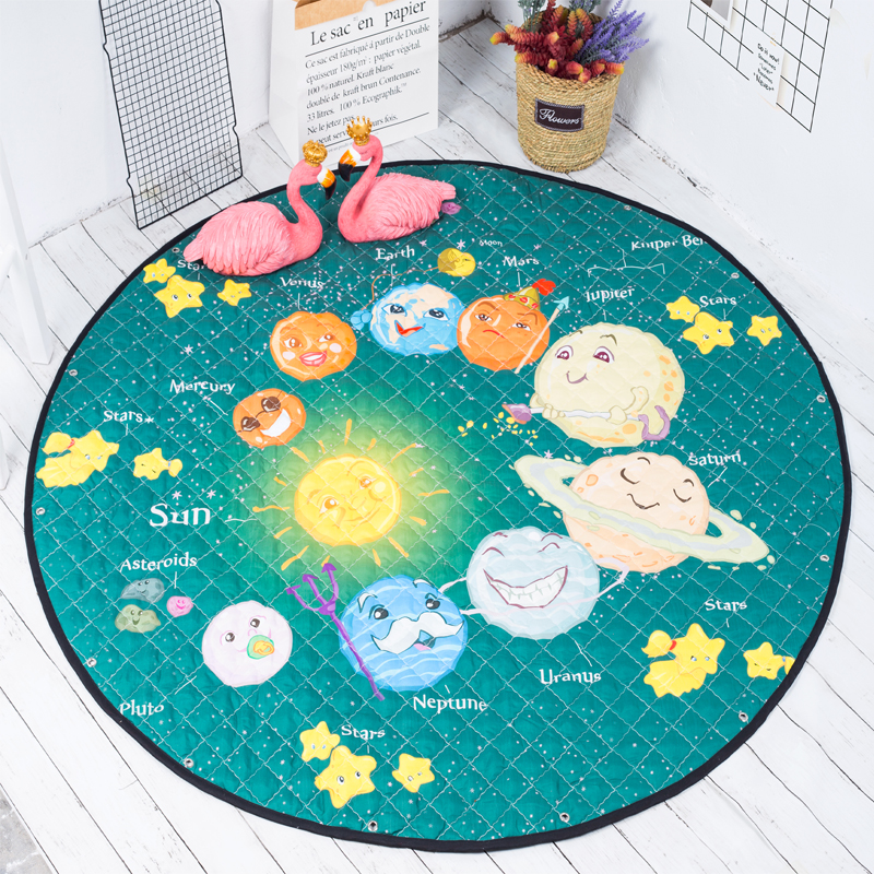 150cm Round Storage Bag For Baby Toys Rug Playing Mat Soft Cartoon Crawling Mat For Children