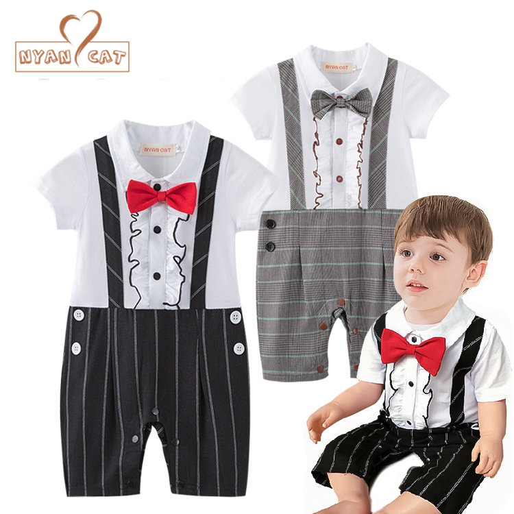 9054786a1b4a Nyan Cat Baby boy birthday black khaki plaid short sleeve bow tie romper  jumpsuit infant toddler
