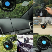 Electric Car Fan 12V Strong Wind Low Noise Adjustable Air Cooling Fan