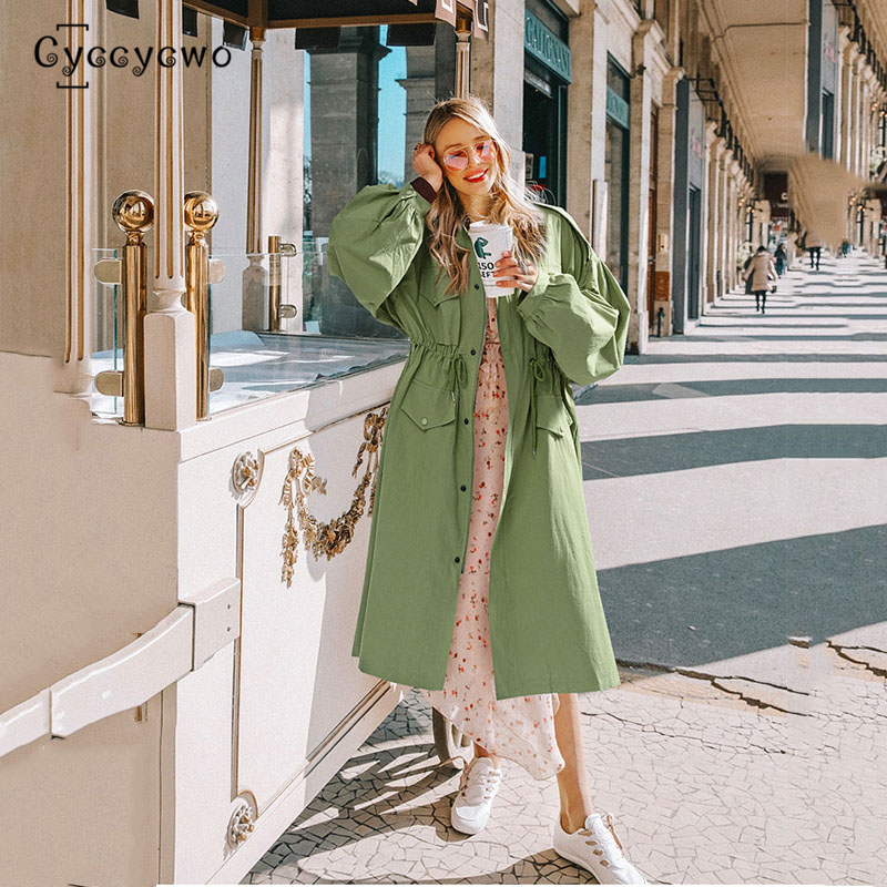 2019 New Brand High Waist   Trench   Women Lantern Sleeve Loose WindBreaker Coat Oversized Long   Trenches   Coats Single Breast we0073