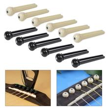 6pcs New Plastic Bridge Pins String Peg w/shell dot For Acoustic Guitar Bass Music Playing Instruments Professional Accessories