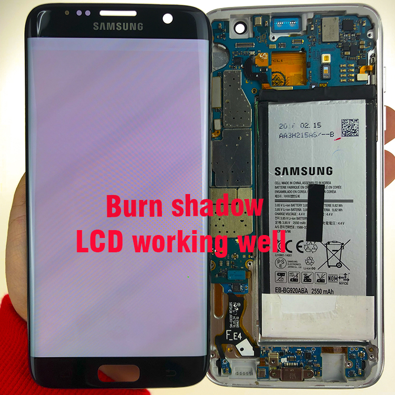 SUPER AMOLED 5 5 Burn shadow LCD For Samsung Galaxy S7 Edge Display With Frame G935F SUPER AMOLED 5.5'' Burn-shadow LCD For Samsung Galaxy S7 Edge Display With Frame G935F G935FD LCD Screen Digitizer Assembly