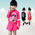 Spring Fashion Girls Clothes Set Quality Cotton Long Sleeve Tshirt + Short Skirt Cartoon Princess Kids Clothing