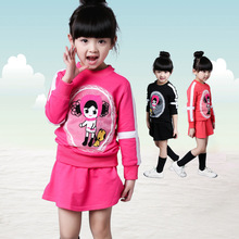 Spring Fashion Girls Clothes Set Quality Cotton Long Sleeve Tshirt + Short Skirt Cartoon Princess Kids Clothing