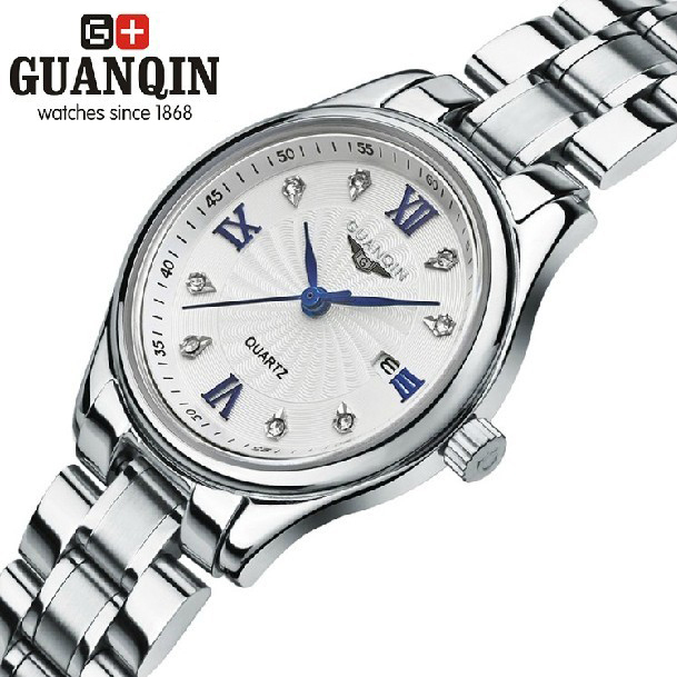 Stainless Steel Rhinestone Waterproof Wristwatches Fashion Dress Luxury Brand GUANQIN Women Quartz Watches
