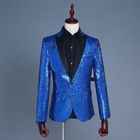 Classic Royal Blue Men Paillettes Giacca Concerto Fase Abbigliamento Costume Uomini Prom Giacca Sassy Uomini Sera Abiti Giacca Sportiva Degli Uomini