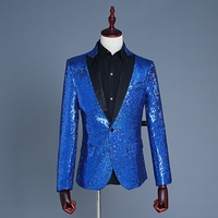 Klassische Royal Blue Männer Pailletten Blazer Bühne Kleidung Konzert Kostüm Männer Prom Jacke Sassy Männer Abend Outfits Blazer Männer