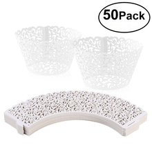 50pcs Laser Cut Cupcake Wrappers Decor Wedding Birthday Party Baby Shower Wrap
