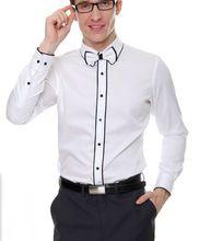 Free shipping white black binding 100%cotton luxury mens tuxedo shirts party/event shirts dance performance shirts
