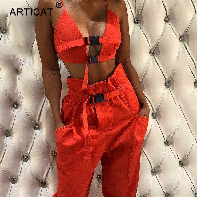 Articat 2018 otoño mono Bodycon para mujer conjunto de dos piezas Sexy ahuecado Crop Top Casual Club fiesta monos
