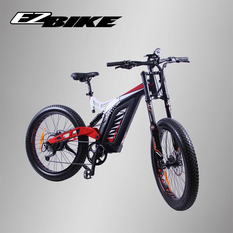 EZBIKE Electric Bike black 26×3.0 7 speed Fat Electric Bicycle 48V 17.4AH Lithium Battery Electric Mountain Bike 750W Motor Bike