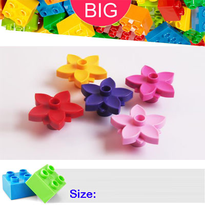 Large Building Block compatible Duplo Parts 6510 Plant Flower with 1 Top Stud Classic Piece Big Dot Brick Toy Bricklink D6510 hm136 57pcs large particle building