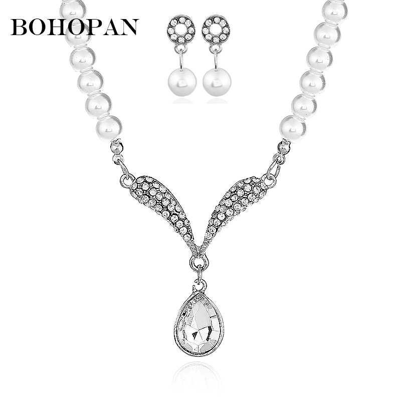 Wedding Jewelry Sets For Women Water Drop Pendants Necklaces Rhienstone Drop Earrings Pearl Chain Bride Crystal Jewelry Sets