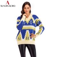 SUNJINACRON Autumn Winter Thick Geometric Sweater Loose Lazy Christmas Fair isle Pop Art Sweaters Women Casual V Neck Pullover