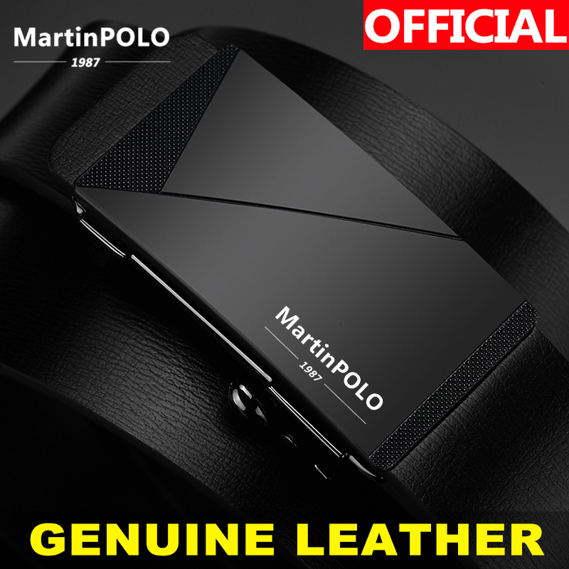 MartinPOLO Business Men's Leather Belts Automatic Alloy Buckle Cowhide Strap For Male Genuine Leather Belt Men MP01401P