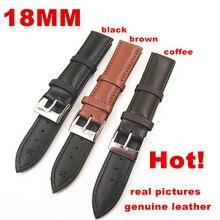 Groothandel Hoge kwaliteit 50 Stks/partij 18 MM echt lederen horloge band horloge onderdelen zwart, bruin, koffie kleur 0201109