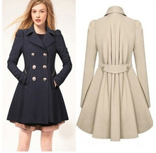 women jacket Spring 2015 women s large size double breasted long coat Slim thin coat free