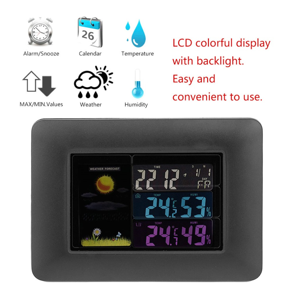 2018 Creative Colorful LCD Thermometer Hygrometer Temperature Humidity Meter Weather Forecast Calendar Weather Station Tester
