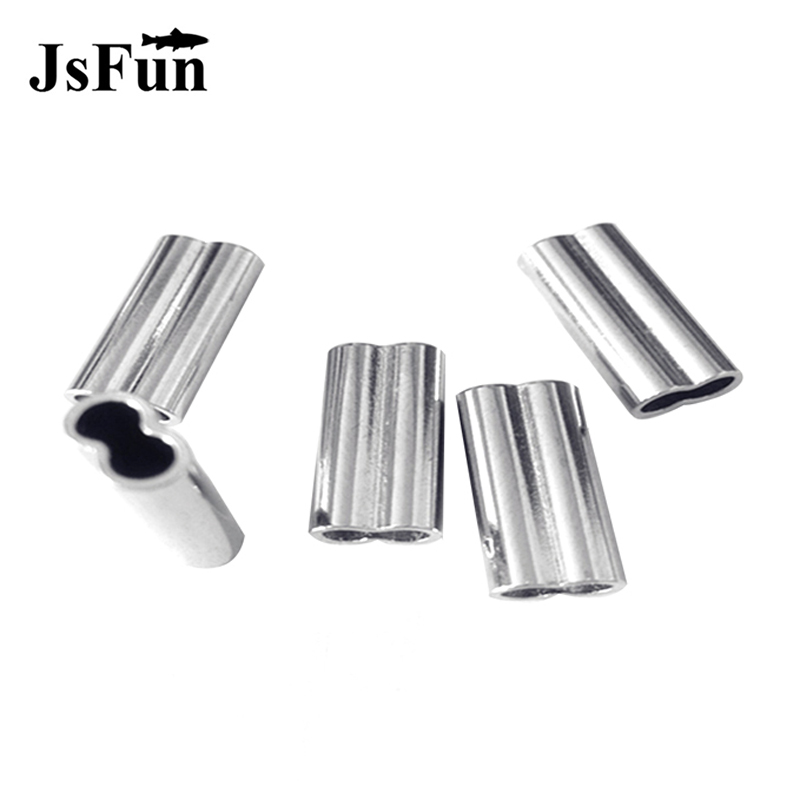 100Pcs Double Oval Copper Tube Fishing Line Connector Stainless Steel Fishing Wire Tube Fishing Line Crimping Sleeves Tube PJ119
