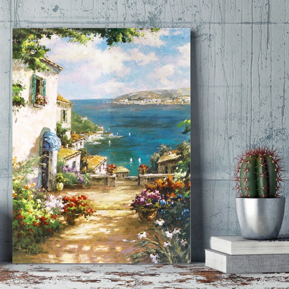 DIY Number Painting Mediterranean Aegean Sea Art Canvas Painting for Dining Room Wall Decor Paint By Numbers Coloring by Numbers