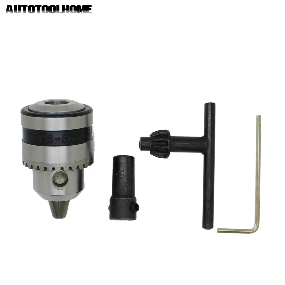 Mini Drill Chuck 0.6-6mm Mount B10 with 5mm Connect Rod Motor Shaft Key Wrench Power Tools Accessories
