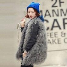 2016 Women Real Fur Coat Genuine  Mongolia lamb Natural Fur Vest Autumn Tibet  Fur Vest Plus size