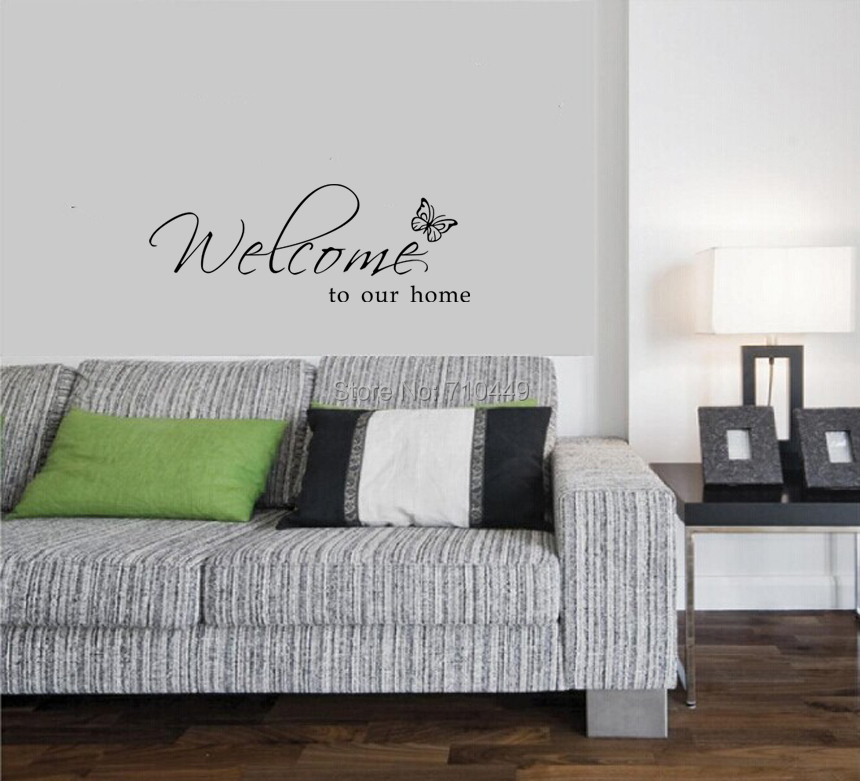 Welcome Butterfly Quote Writing Decals Wall Sticker Room Decor ...