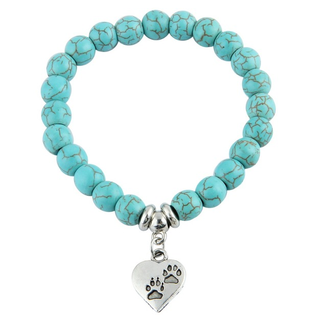 Bespmosp New Vintage Heart Dog Cat Animal Feet Footprint Blue Bead Pendant Bracelet Women Girl Statement Jewelry Gift 1