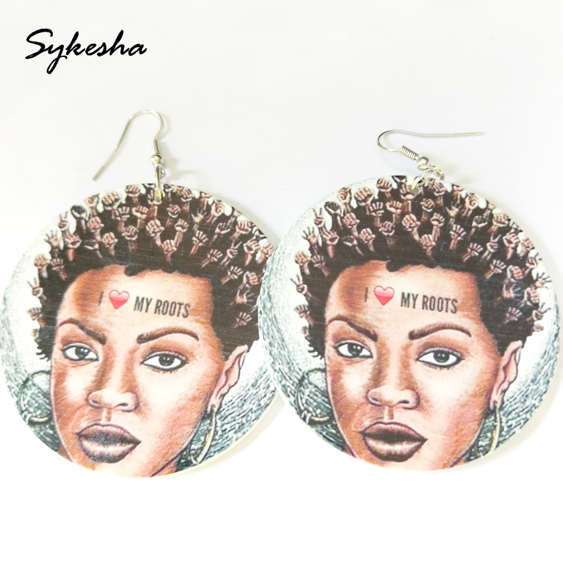 2019 Africa New Braided Hair Women Printed Wooden Earrings National Ethnic Jewelry Wood Party Christmas Gift