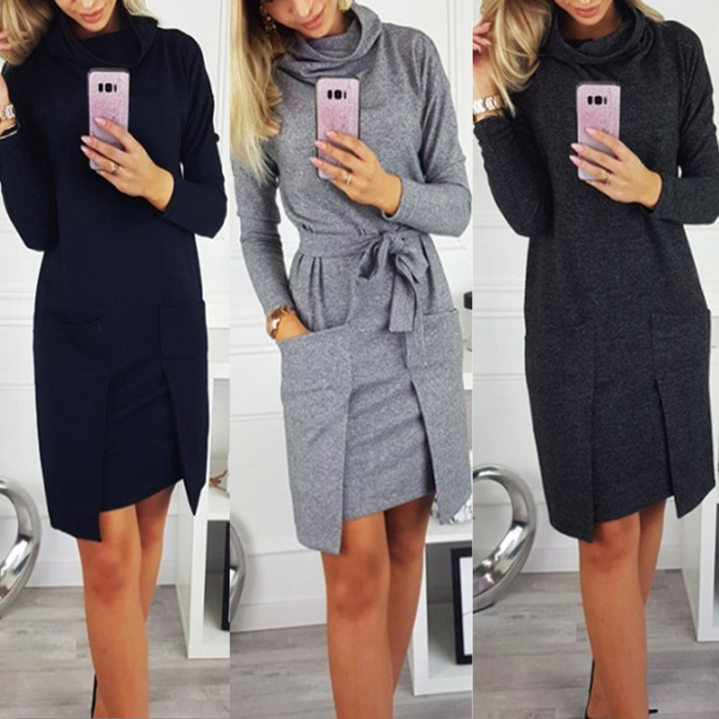 Autumn Winter Women Fashion Elegant Neck Long Sleeve Big Pocket Tops Ladies Female Large Big Solid Color Blouse Dress