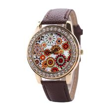 2017 Women's Fashion Watches Sunflower Leather Band Stainless Steel Quartz Analog Wrist Watch Montre homme
