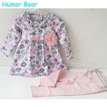 Юмор Медведь девочка цветочные установленные одежды новорожденных малышей хлопка костюм дети девочка наряды весна костюм детская одежда набор