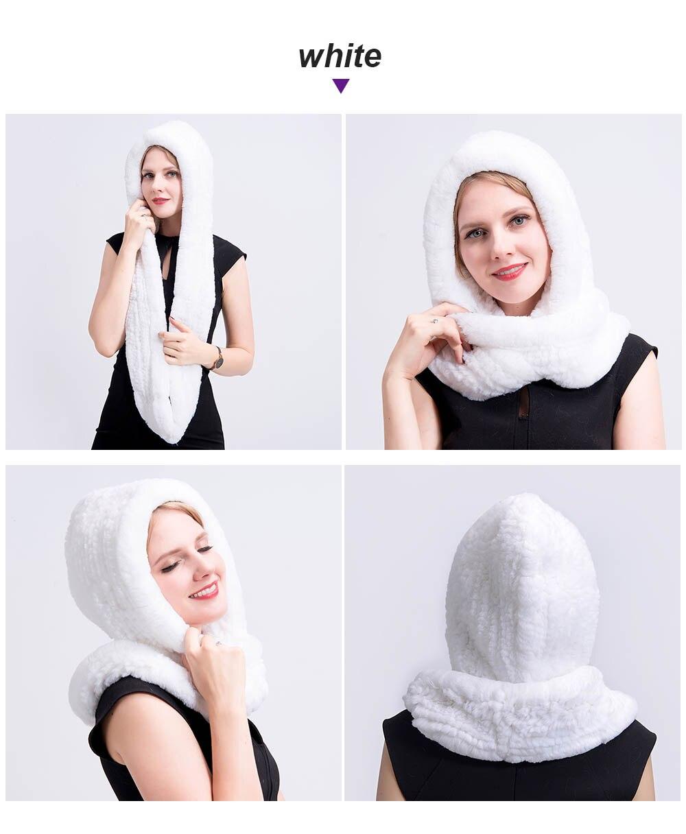 knit rex fur scarf white