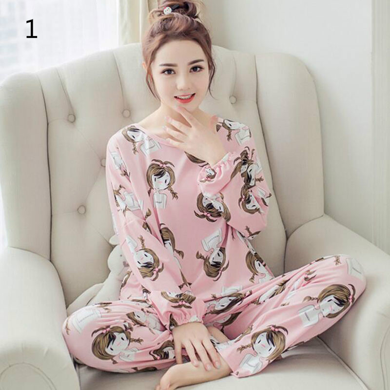 New Spring Women Pyjamas SetsThin Long Sleeve   Pajamas     Set   Student Female Pyjamas   Sets   Night Suit Sleepwear 9 Colors