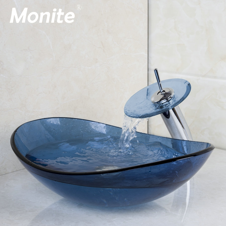 BLUE Transparent Glass Bathroom Mixer Basin Washbasin Brass Faucet Set Oval Washroom Basin Vessel Vanity Sink w/ Drain