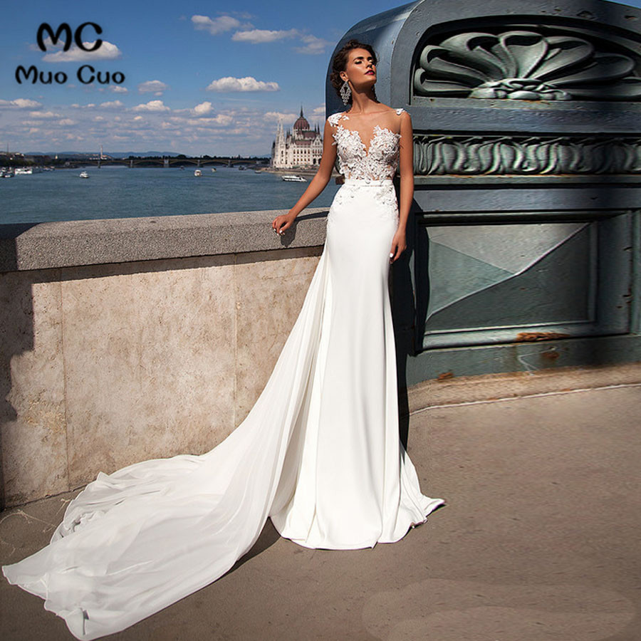 6ca5259eed363 New 2018 Illusion Mermaid Wedding Dresses With Appliques Robe De Mariage  Scoop Satin Vestido De Noiva Bridal Gowns
