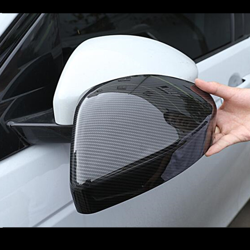 Carbon Fiber Style Rearview Mirror Cover Trim For Land Rover Discovery Sport 15 18 Evoque For Jaguar F pace 2016 ABS Car Styling in Car Covers from Automobiles Motorcycles