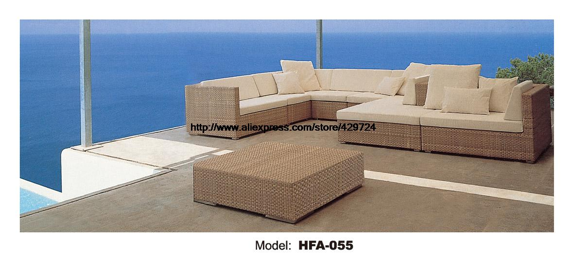 Elegant Outdoor L Foam Rattan Sofa With Cushions Modern Design 2016 New Comfortable Garden Beach Outdoor Furniture Factory Price