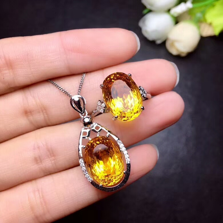 MeiBaPJ Natural High End Process Citrine Fine Jewelry Set 925 Pure Silver Necklace and Ring Suit