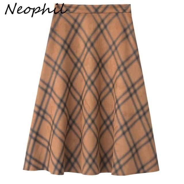 Neophil 2019 Winter Women Plaid Suede Midi Skirt High Waist Vintage England Style Ladies A Line Flare Skirt Saia Femininas S1926