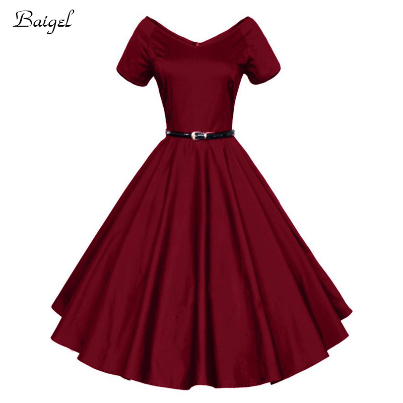 2017 Womens Summer Sexy V Neck Party Dresses 50s 60s Retro Style Ladies Rockabilly Swing Red