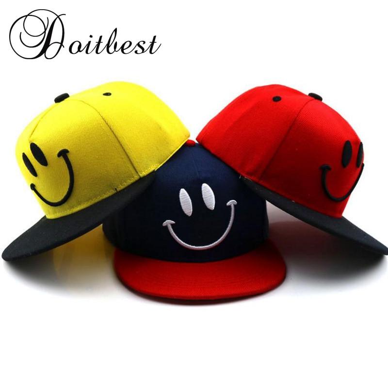2018 Korea Children HipHop Baseball Cap Cartoon smiley Child Summer kids Sun Hat Boys Girls snapback Caps for 2-8 years old