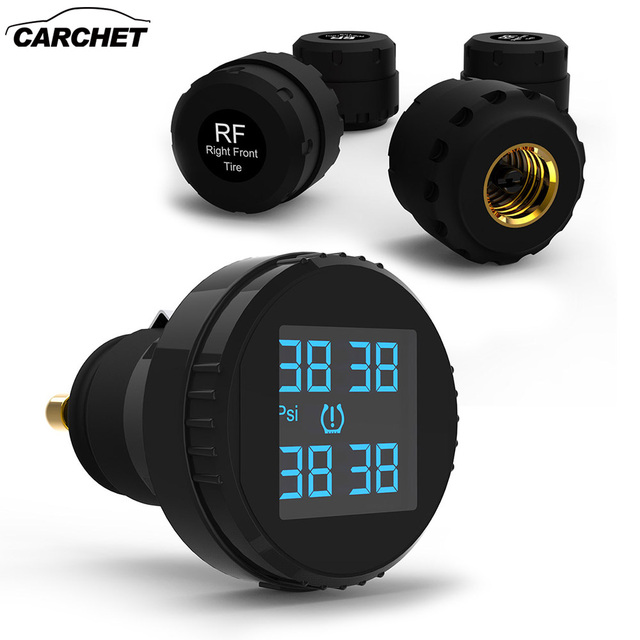 CARCHET TPMS Tyre Pressure Monitoring System 4 External Sensors Cigarette Lighter Car Tire Pressure Alarm Shipping from overseas